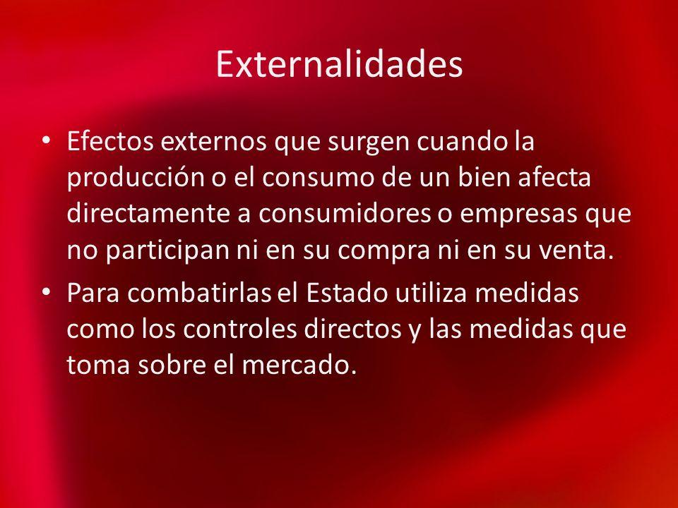 Externalidades Efectos externos que surgen cuando la producción o el consumo de un bien afecta directamente a consumidores o empresas que no participa