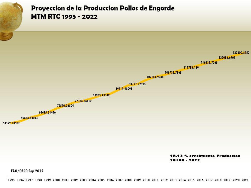 Proyeccion de la Produccion Pollos de Engorde MTM RTC 1995 - 2022 FAO/OECD Sep 2012