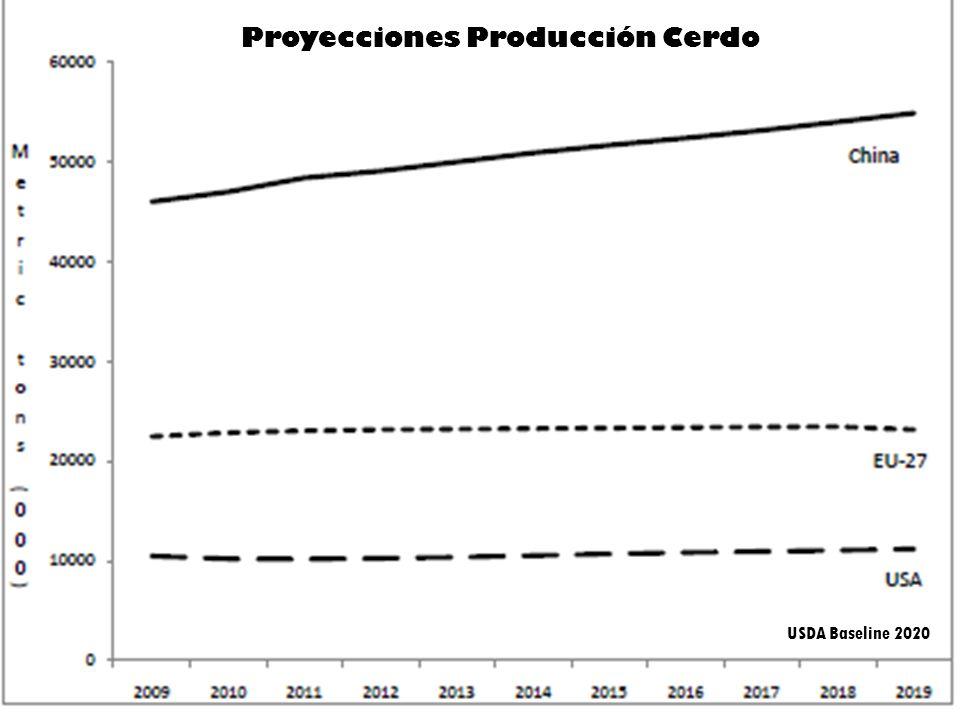 Proyecciones Producción Cerdo USDA Baseline 2020