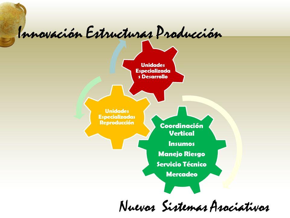 Nuevos Sistemas Asociativos Coordinación Vertical Insumos Manejo Riesgo Servicio Técnico Mercadeo Unidades Especializadas Reproducción Unidades Especi