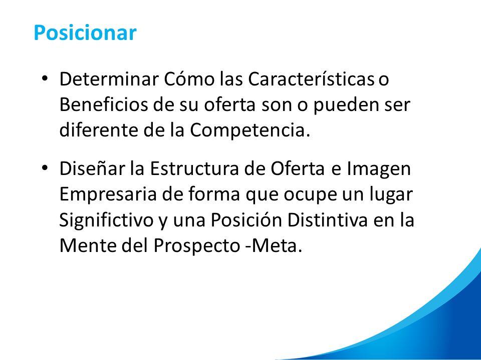 Determinar Cómo las Características o Beneficios de su oferta son o pueden ser diferente de la Competencia. Diseñar la Estructura de Oferta e Imagen E