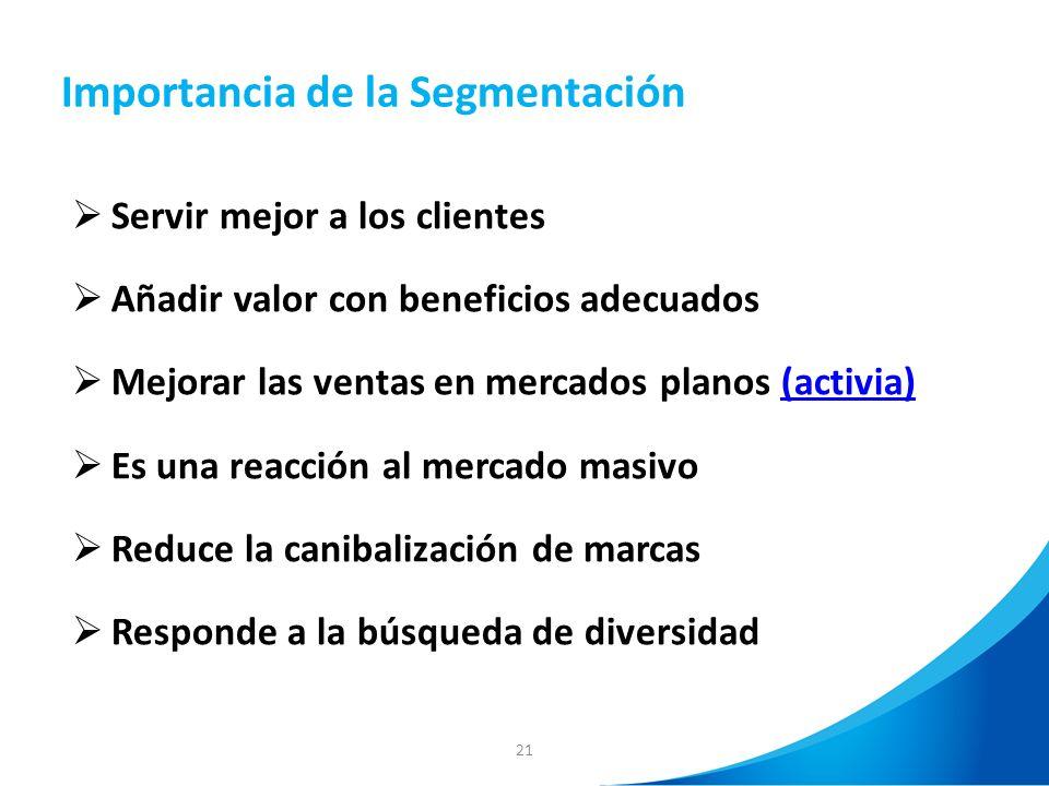 21 Importancia de la Segmentación Servir mejor a los clientes Añadir valor con beneficios adecuados Mejorar las ventas en mercados planos (activia)(ac