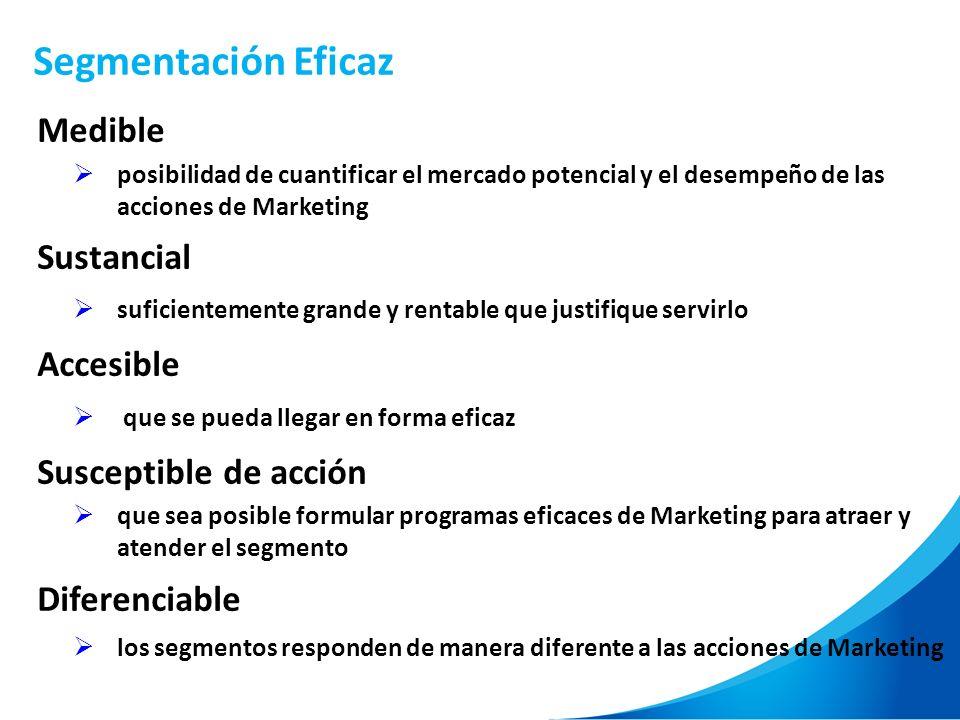 Segmentación Eficaz Medible posibilidad de cuantificar el mercado potencial y el desempeño de las acciones de Marketing Sustancial suficientemente gra