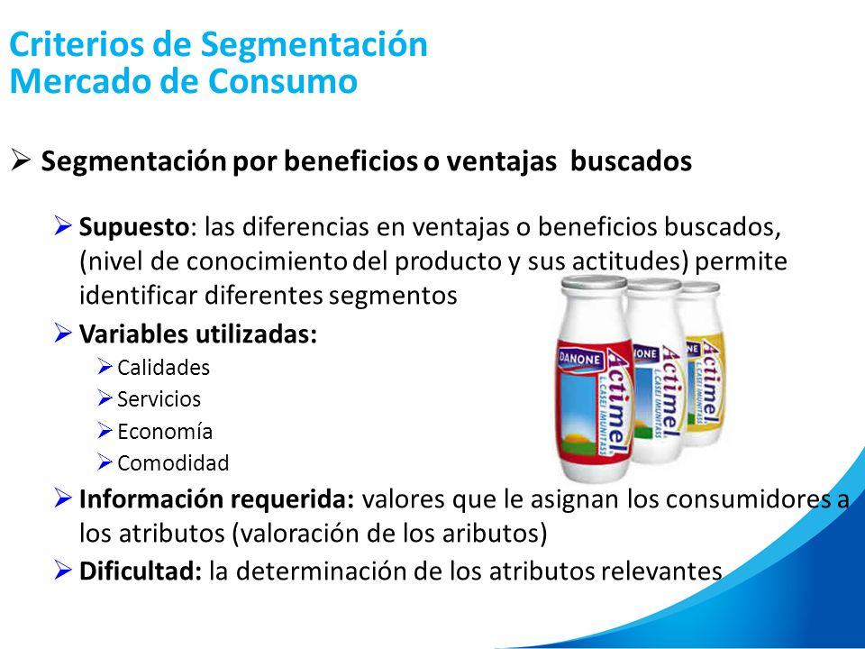 Criterios de Segmentación Mercado de Consumo Segmentación por beneficios o ventajas buscados Supuesto: las diferencias en ventajas o beneficios buscad