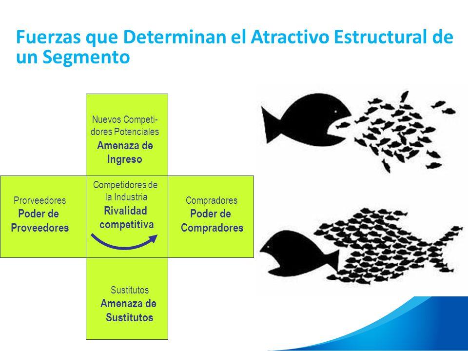 Fuerzas que Determinan el Atractivo Estructural de un Segmento Nuevos Competi- dores Potenciales Amenaza de Ingreso Prorveedores Poder de Proveedores