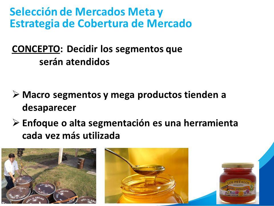 31 Selección de Mercados Meta y Estrategia de Cobertura de Mercado CONCEPTO:Decidir los segmentos que serán atendidos Macro segmentos y mega productos