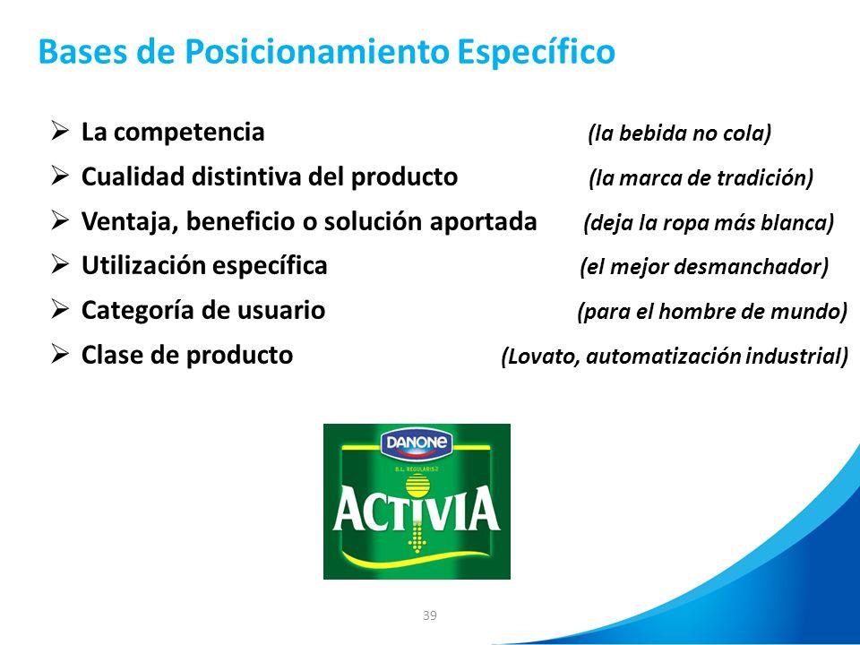 39 Bases de Posicionamiento Específico La competencia (la bebida no cola) Cualidad distintiva del producto (la marca de tradición) Ventaja, beneficio