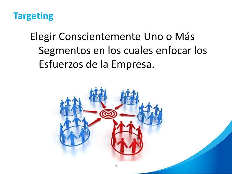 9 Elegir Conscientemente Uno o Más Segmentos en los cuales enfocar los Esfuerzos de la Empresa. Targeting