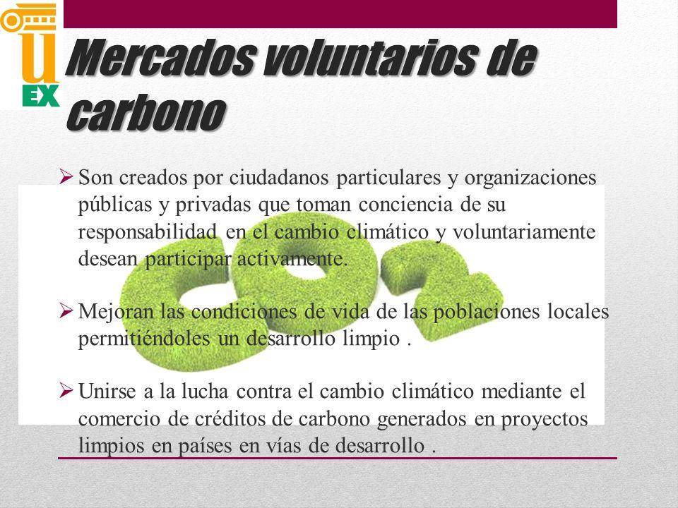 Mercados voluntarios de carbono Son creados por ciudadanos particulares y organizaciones públicas y privadas que toman conciencia de su responsabilidad en el cambio climático y voluntariamente desean participar activamente.