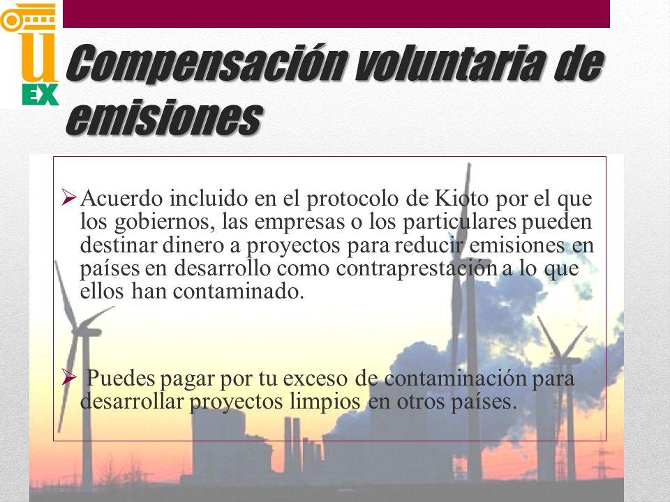 Compensación voluntaria de emisiones Acuerdo incluido en el protocolo de Kioto por el que los gobiernos, las empresas o los particulares pueden destinar dinero a proyectos para reducir emisiones en países en desarrollo como contraprestación a lo que ellos han contaminado.