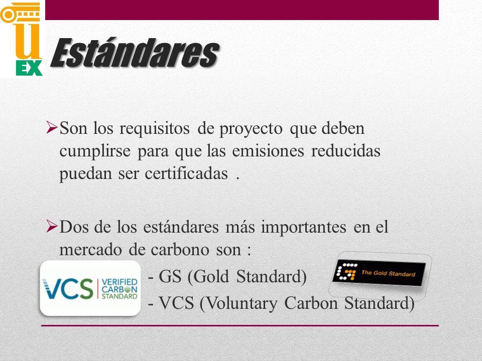 Estándares Son los requisitos de proyecto que deben cumplirse para que las emisiones reducidas puedan ser certificadas.