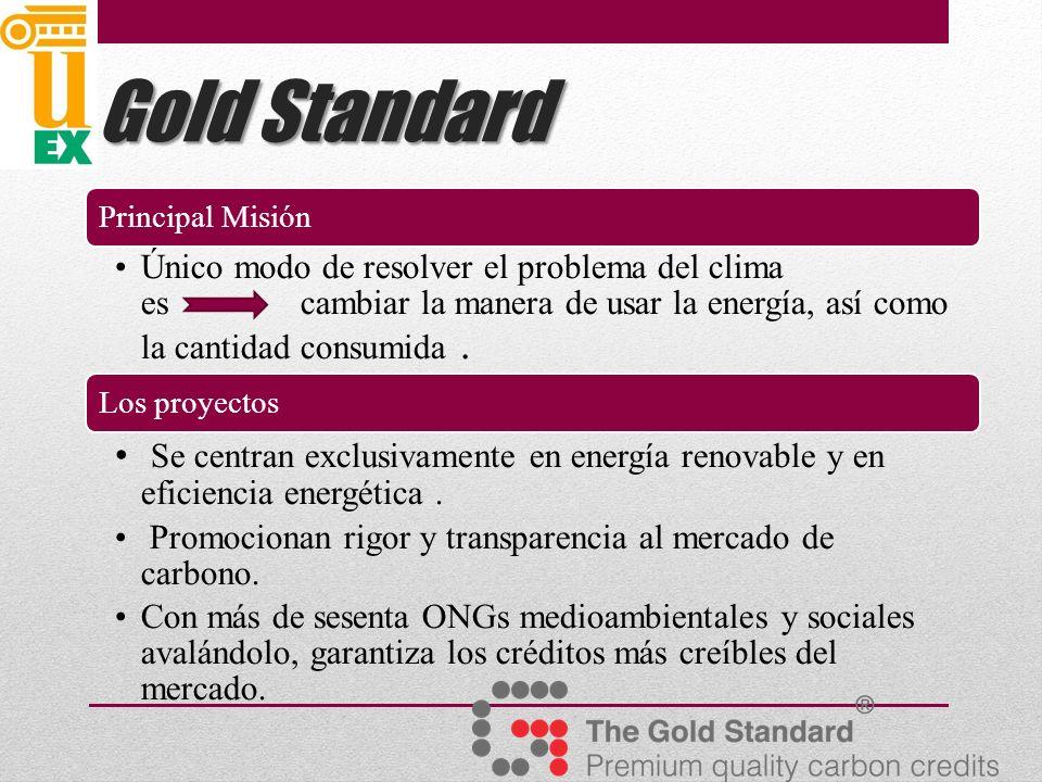 Gold Standard Principal Misión Único modo de resolver el problema del clima es cambiar la manera de usar la energía, así como la cantidad consumida.