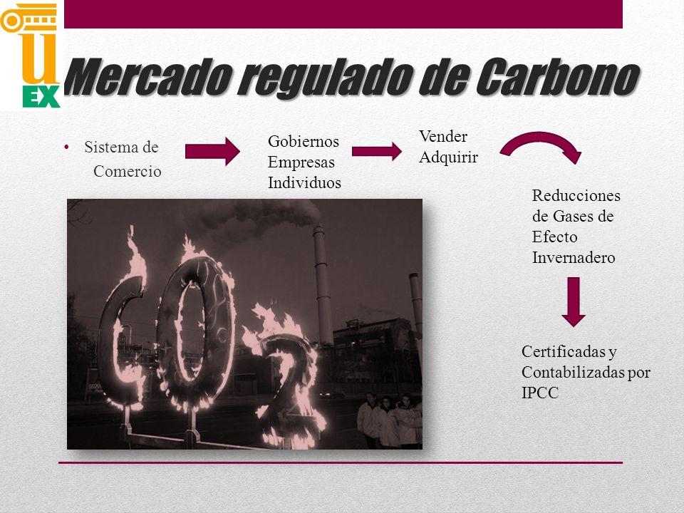 Mercado regulado de Carbono Sistema de Comercio Gobiernos Empresas Individuos Vender Adquirir Reducciones de Gases de Efecto Invernadero Certificadas y Contabilizadas por IPCC