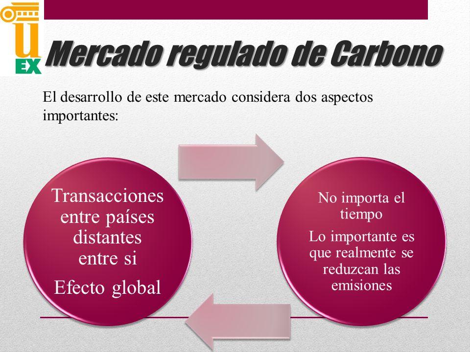 Transacciones entre países distantes entre si Efecto global No importa el tiempo Lo importante es que realmente se reduzcan las emisiones Mercado regulado de Carbono El desarrollo de este mercado considera dos aspectos importantes:
