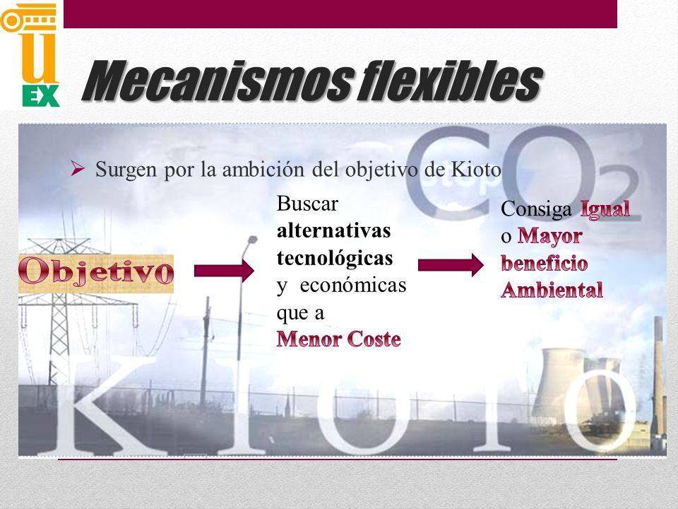 Mecanismos flexibles Surgen por la ambición del objetivo de Kioto Objetivo