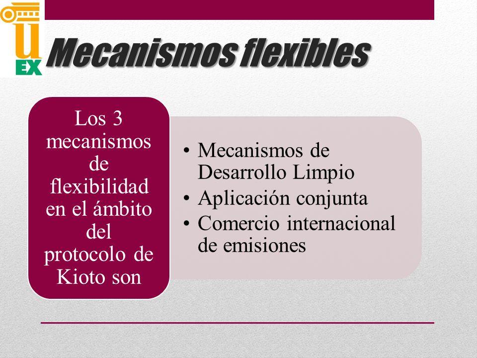Mecanismos flexibles Mecanismos de Desarrollo Limpio Aplicación conjunta Comercio internacional de emisiones Los 3 mecanismos de flexibilidad en el ámbito del protocolo de Kioto son