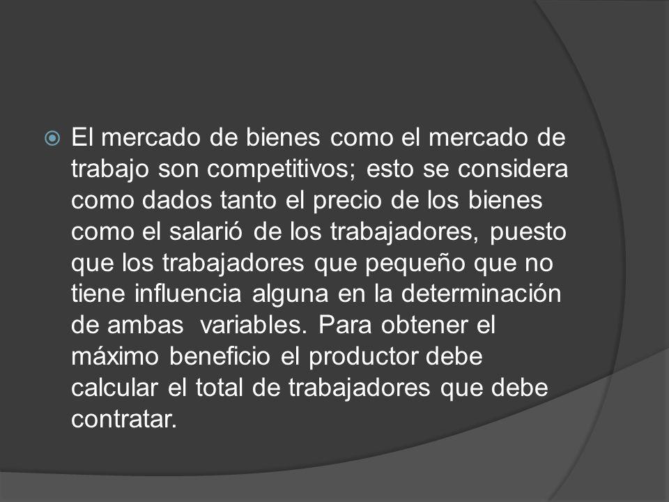 El mercado de bienes como el mercado de trabajo son competitivos; esto se considera como dados tanto el precio de los bienes como el salarió de los tr