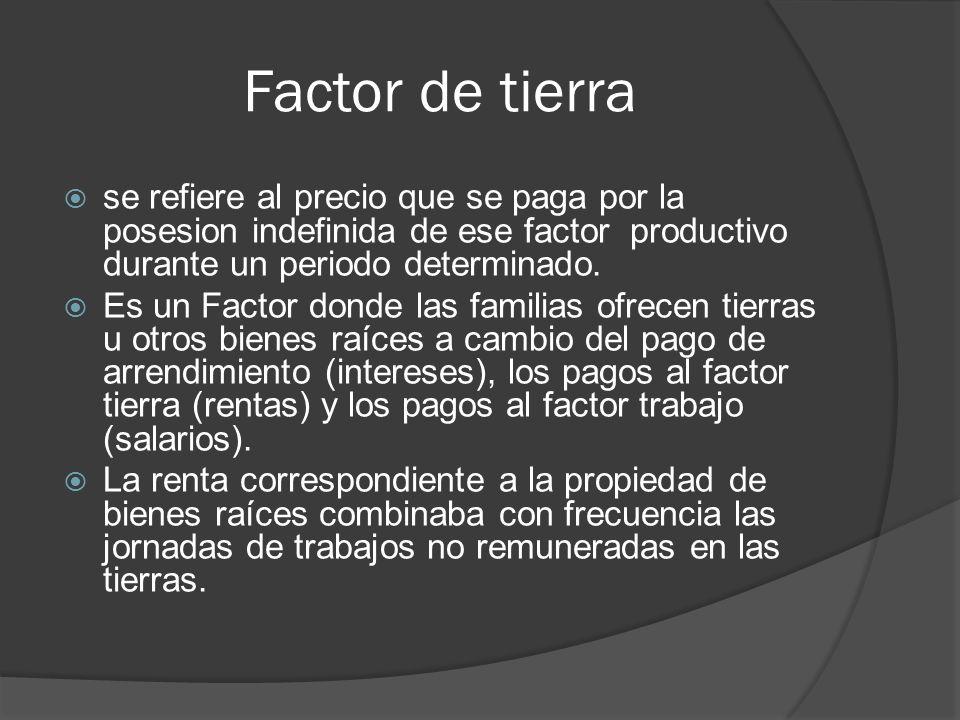 Factor de tierra se refiere al precio que se paga por la posesion indefinida de ese factor productivo durante un periodo determinado. Es un Factor don