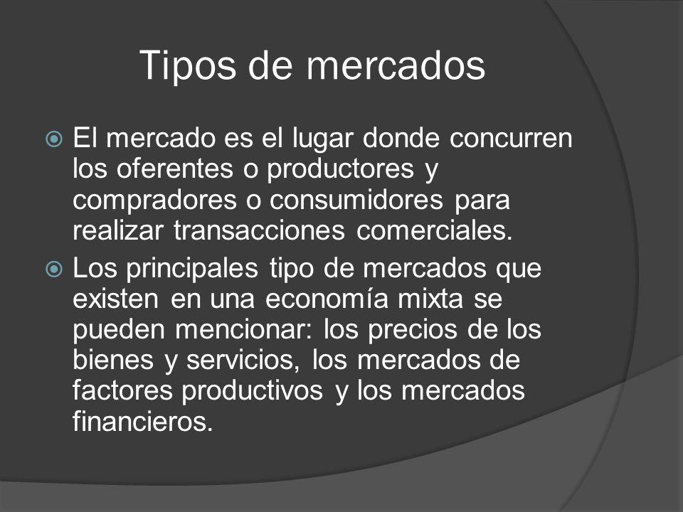 Tipos de mercados El mercado es el lugar donde concurren los oferentes o productores y compradores o consumidores para realizar transacciones comercia