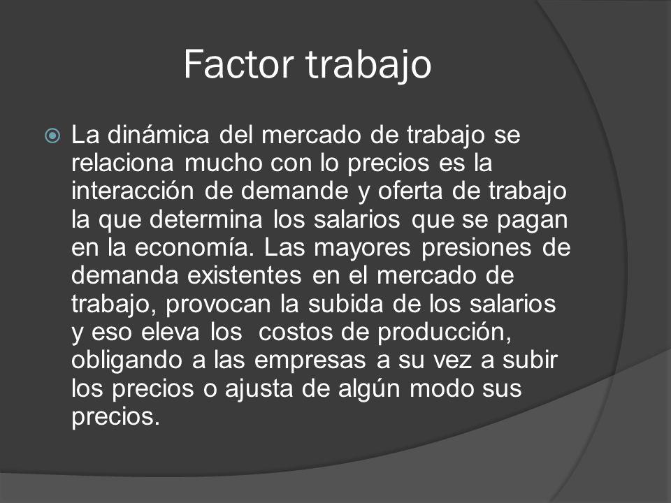 Factor trabajo La dinámica del mercado de trabajo se relaciona mucho con lo precios es la interacción de demande y oferta de trabajo la que determina