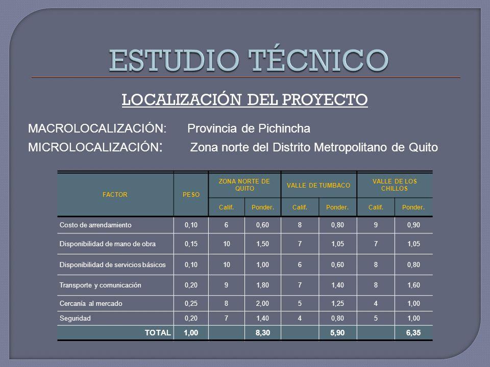 LOCALIZACIÓN DEL PROYECTO MACROLOCALIZACIÓN: Provincia de Pichincha MICROLOCALIZACIÓN : Zona norte del Distrito Metropolitano de Quito FACTORPESO ZONA NORTE DE QUITO VALLE DE TUMBACO VALLE DE LOS CHILLOS Calif.Ponder.Calif.Ponder.Calif.Ponder.