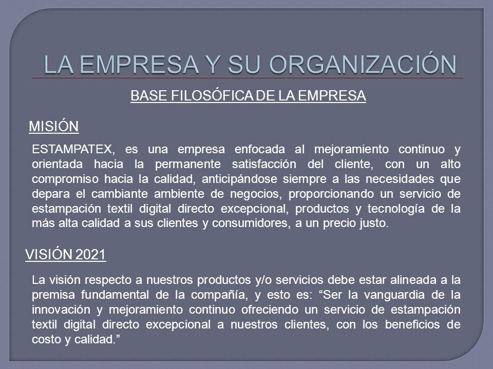 BASE FILOSÓFICA DE LA EMPRESA MISIÓN ESTAMPATEX, es una empresa enfocada al mejoramiento continuo y orientada hacia la permanente satisfacción del cli