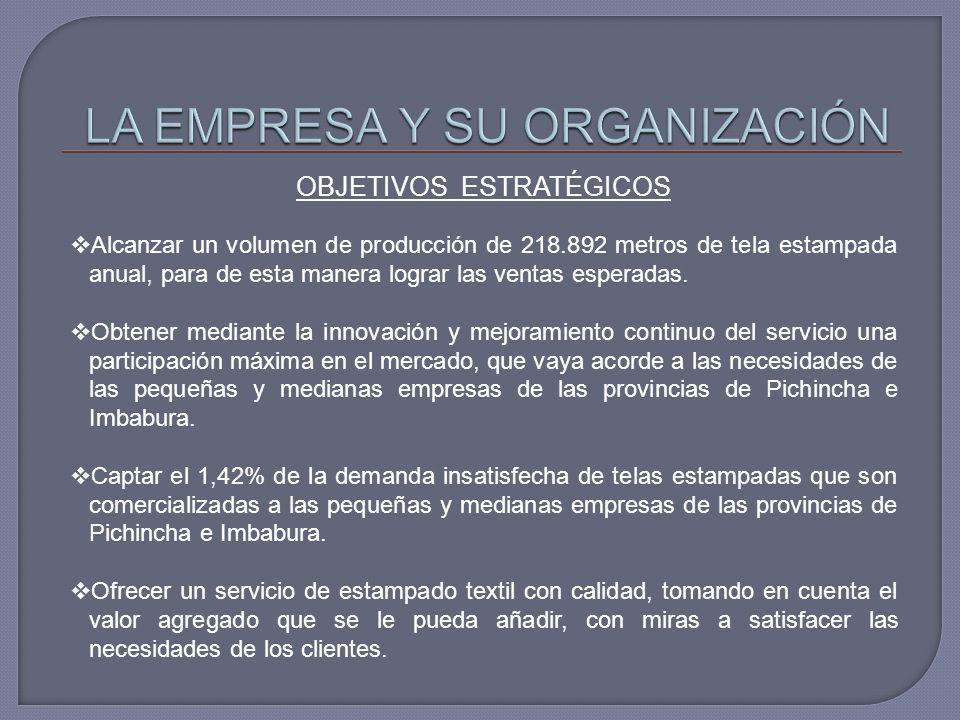 OBJETIVOS ESTRATÉGICOS Alcanzar un volumen de producción de 218.892 metros de tela estampada anual, para de esta manera lograr las ventas esperadas. O
