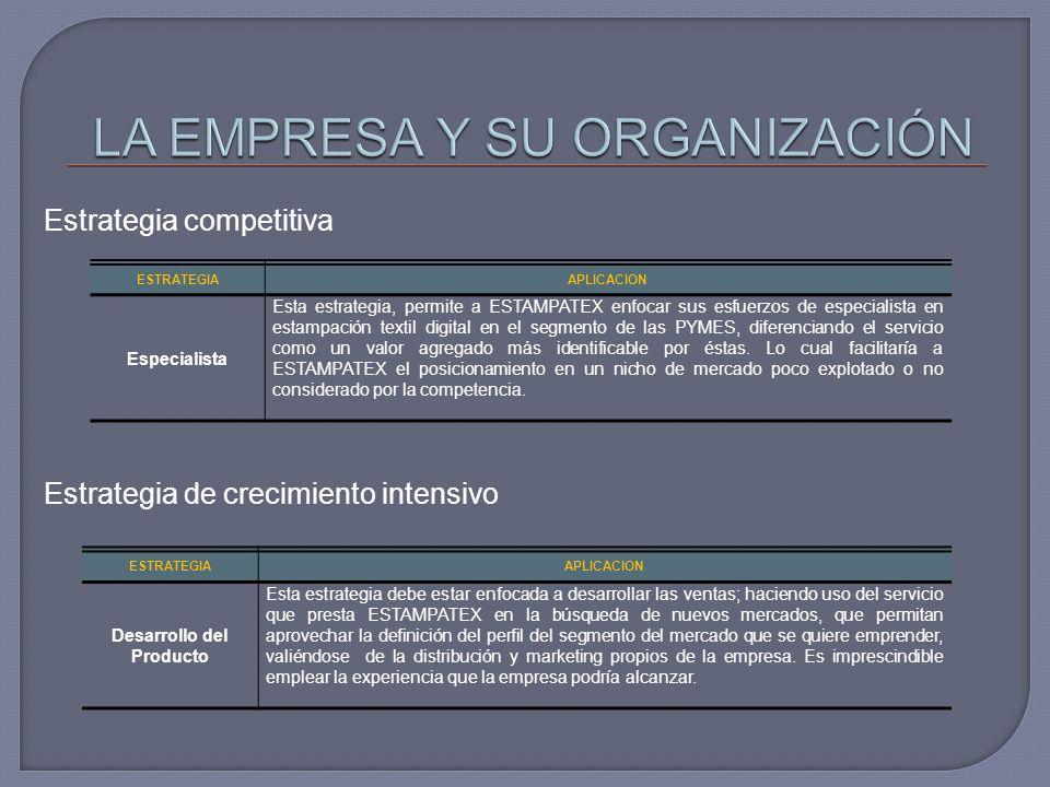 Estrategia competitiva ESTRATEGIAAPLICACION Especialista Esta estrategia, permite a ESTAMPATEX enfocar sus esfuerzos de especialista en estampación te