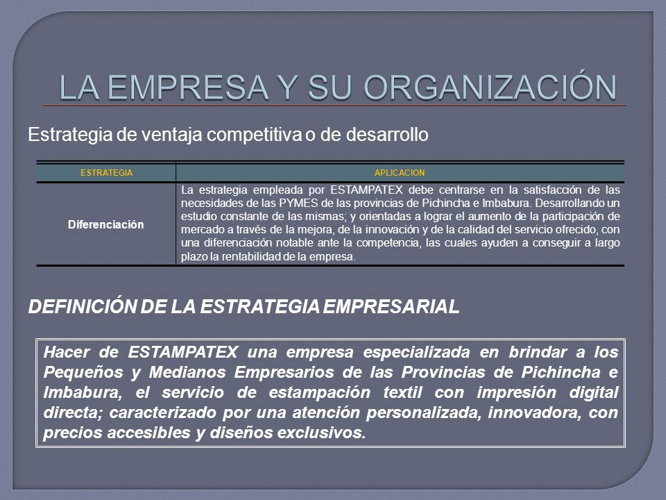 Estrategia de ventaja competitiva o de desarrollo DEFINICIÓN DE LA ESTRATEGIA EMPRESARIAL ESTRATEGIAAPLICACION Diferenciación La estrategia empleada por ESTAMPATEX debe centrarse en la satisfacción de las necesidades de las PYMES de las provincias de Pichincha e Imbabura.