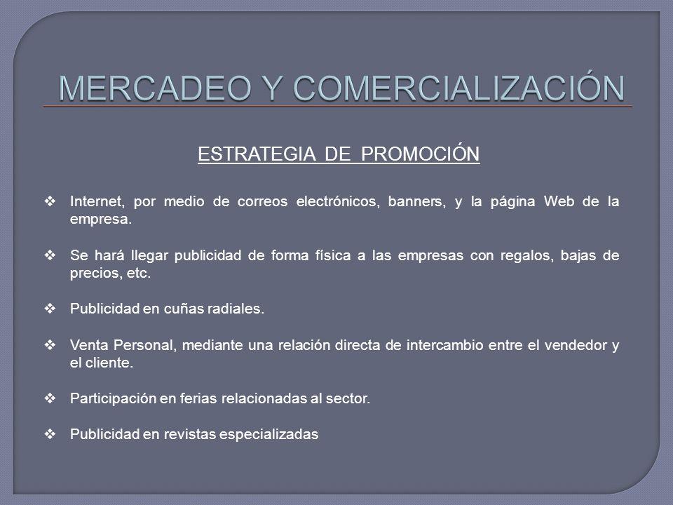 ESTRATEGIA DE PROMOCIÓN Internet, por medio de correos electrónicos, banners, y la página Web de la empresa. Se hará llegar publicidad de forma física