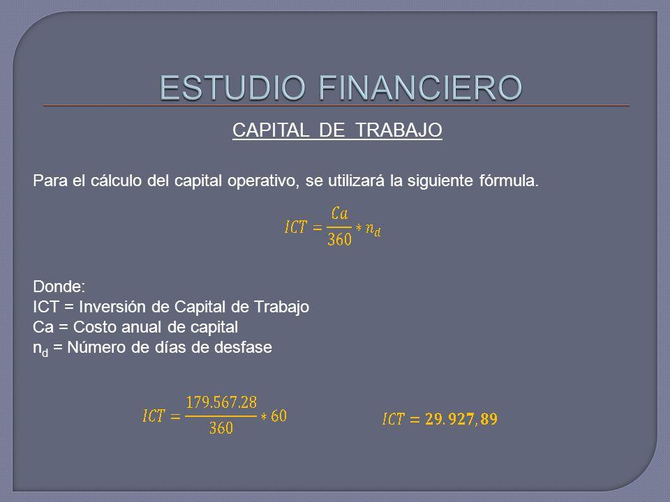 Para el cálculo del capital operativo, se utilizará la siguiente fórmula. Donde: ICT = Inversión de Capital de Trabajo Ca = Costo anual de capital n d