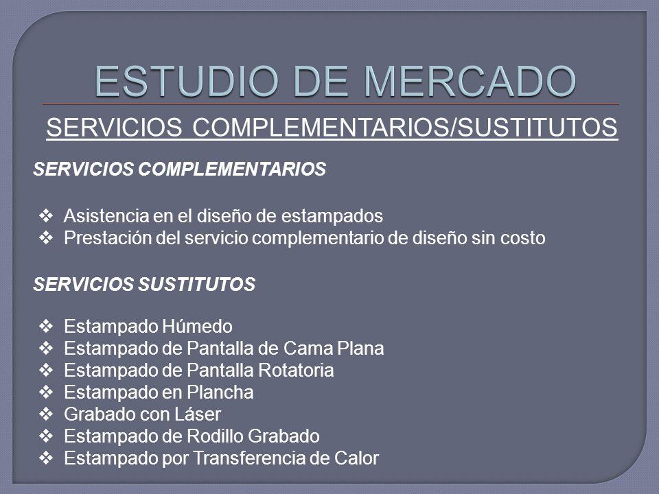 SERVICIOS COMPLEMENTARIOS/SUSTITUTOS SERVICIOS COMPLEMENTARIOS Asistencia en el diseño de estampados Prestación del servicio complementario de diseño