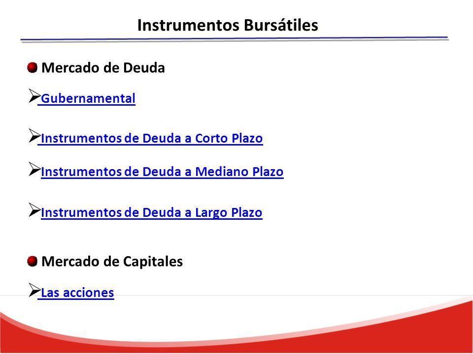 Instrumentos Bursátiles Gubernamental Instrumentos de Deuda a Corto Plazo Instrumentos de Deuda a Mediano Plazo Instrumentos de Deuda a Largo Plazo Las acciones Mercado de Deuda Mercado de Capitales