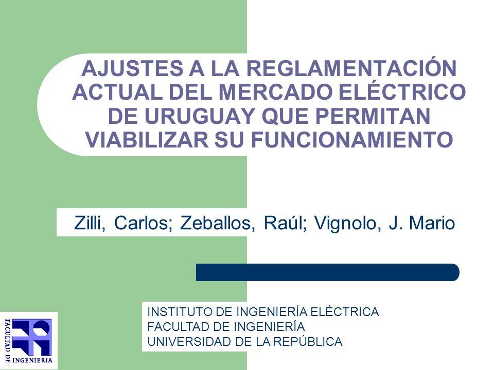 AJUSTES A LA REGLAMENTACIÓN ACTUAL DEL MERCADO ELÉCTRICO DE URUGUAY QUE PERMITAN VIABILIZAR SU FUNCIONAMIENTO Zilli, Carlos; Zeballos, Raúl; Vignolo,