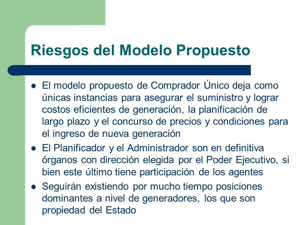 Riesgos del Modelo Propuesto El modelo propuesto de Comprador Único deja como únicas instancias para asegurar el suministro y lograr costos eficientes