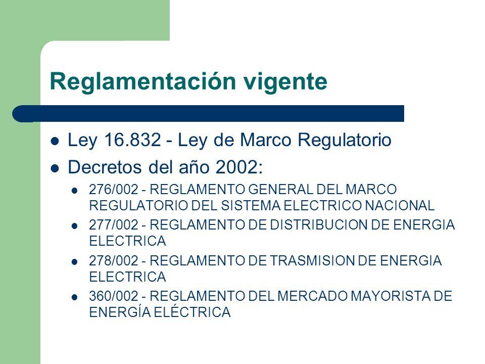 Reglamentación vigente Ley 16.832 - Ley de Marco Regulatorio Decretos del año 2002: 276/002 - REGLAMENTO GENERAL DEL MARCO REGULATORIO DEL SISTEMA ELE