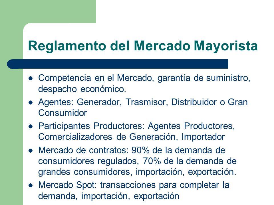 Reglamento del Mercado Mayorista Competencia en el Mercado, garantía de suministro, despacho económico. Agentes: Generador, Trasmisor, Distribuidor o