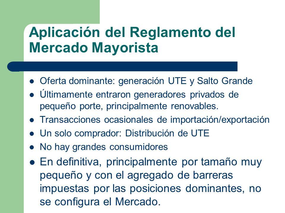 Aplicación del Reglamento del Mercado Mayorista Oferta dominante: generación UTE y Salto Grande Últimamente entraron generadores privados de pequeño p