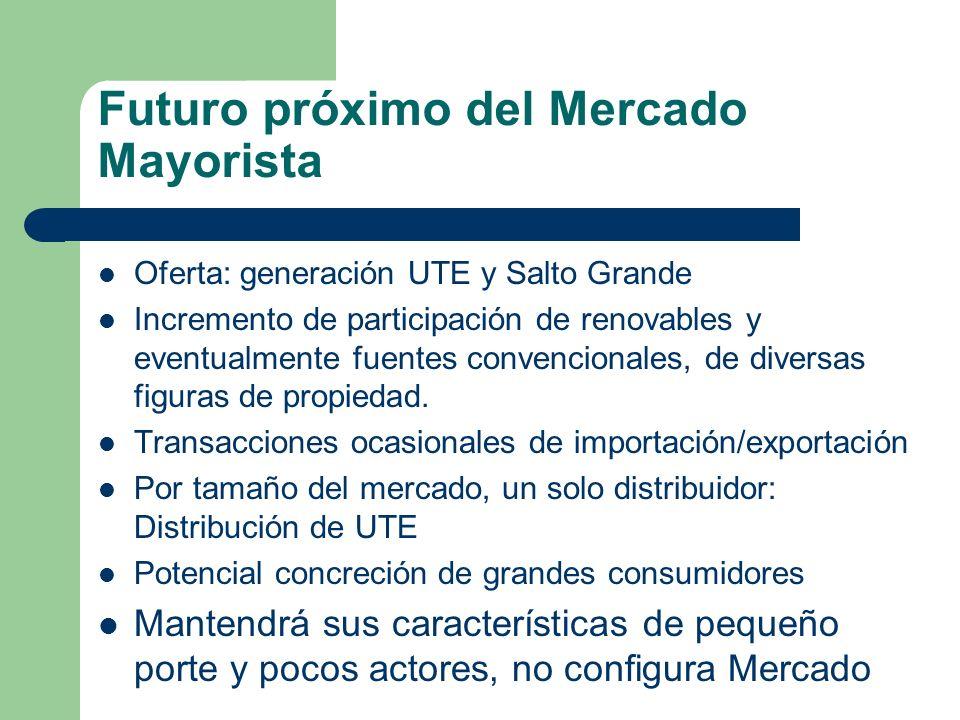 Futuro próximo del Mercado Mayorista Oferta: generación UTE y Salto Grande Incremento de participación de renovables y eventualmente fuentes convencio