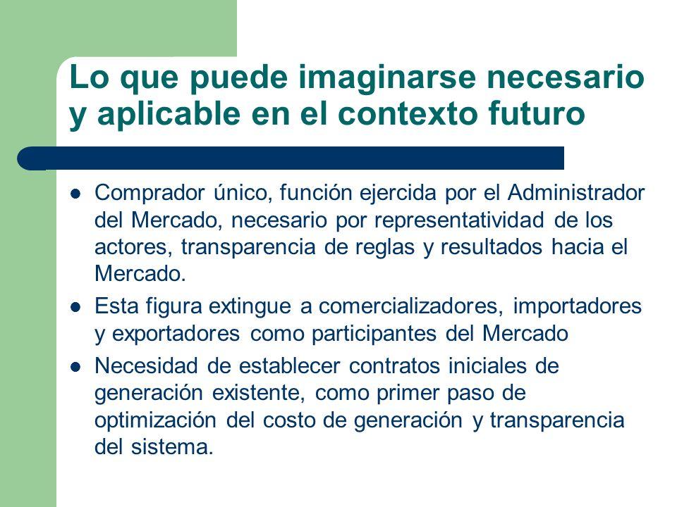Lo que puede imaginarse necesario y aplicable en el contexto futuro Comprador único, función ejercida por el Administrador del Mercado, necesario por