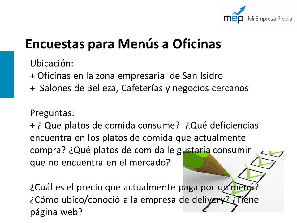 Encuestas para Menús a Oficinas Ubicación: + Oficinas en la zona empresarial de San Isidro + Salones de Belleza, Cafeterías y negocios cercanos Pregun