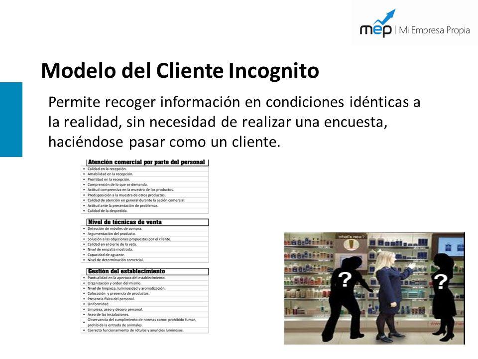 Modelo del Cliente Incognito Permite recoger información en condiciones idénticas a la realidad, sin necesidad de realizar una encuesta, haciéndose pa