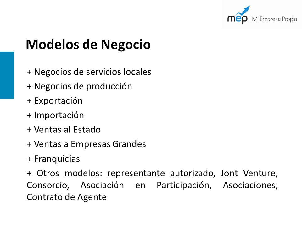+ Negocios de servicios locales + Negocios de producción + Exportación + Importación + Ventas al Estado + Ventas a Empresas Grandes + Franquicias + Ot