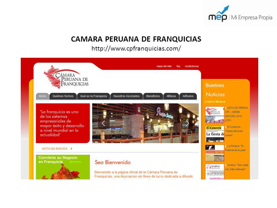 CAMARA PERUANA DE FRANQUICIAS http://www.cpfranquicias.com/