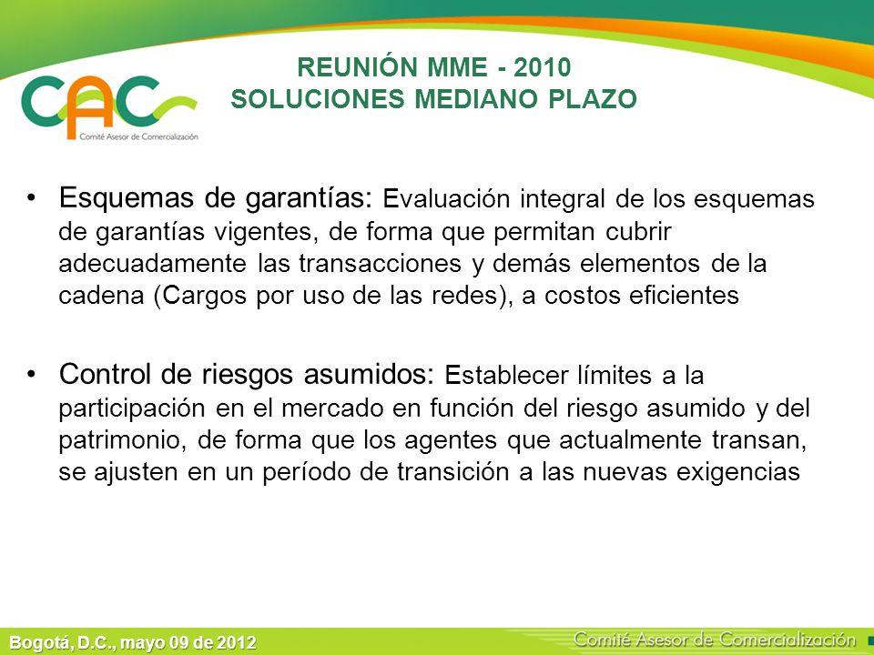 Bogotá, D.C., mayo 09 de 2012 REUNIÓN MME - 2010 SOLUCIONES MEDIANO PLAZO Esquemas de garantías: Evaluación integral de los esquemas de garantías vigentes, de forma que permitan cubrir adecuadamente las transacciones y demás elementos de la cadena (Cargos por uso de las redes), a costos eficientes Control de riesgos asumidos: Establecer límites a la participación en el mercado en función del riesgo asumido y del patrimonio, de forma que los agentes que actualmente transan, se ajusten en un período de transición a las nuevas exigencias