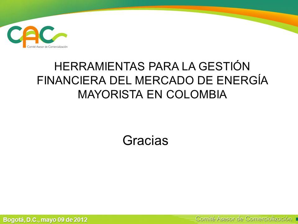 Bogotá, D.C., mayo 09 de 2012 Gracias HERRAMIENTAS PARA LA GESTIÓN FINANCIERA DEL MERCADO DE ENERGÍA MAYORISTA EN COLOMBIA
