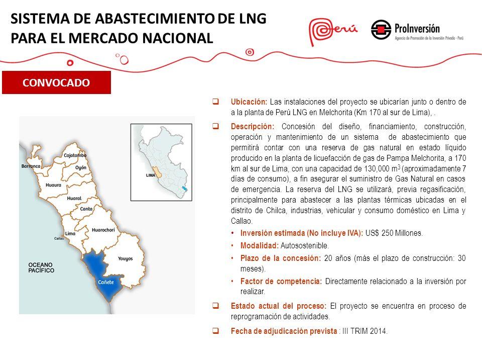 CONVOCADO Ubicación: Las instalaciones del proyecto se ubicarían junto o dentro de a la planta de Perú LNG en Melchorita (Km 170 al sur de Lima),. Des