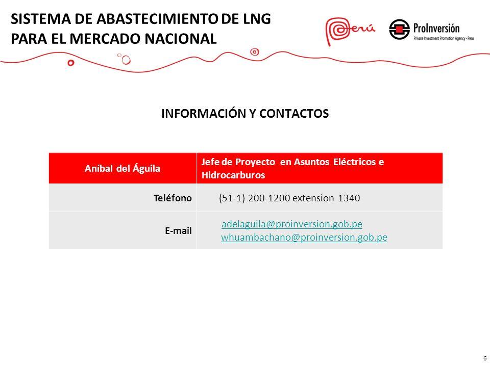 INFORMACIÓN Y CONTACTOS 6 6 Aníbal del Águila Jefe de Proyecto en Asuntos Eléctricos e Hidrocarburos Teléfono (51-1) 200-1200 extension 1340 E-mail ad