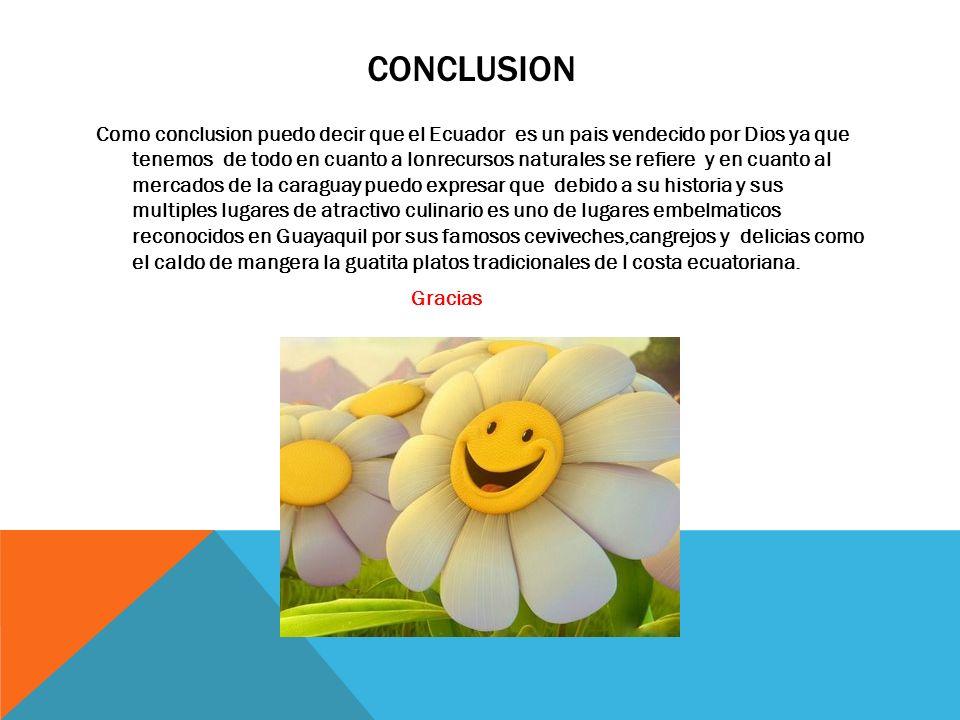 CONCLUSION Como conclusion puedo decir que el Ecuador es un pais vendecido por Dios ya que tenemos de todo en cuanto a lonrecursos naturales se refier