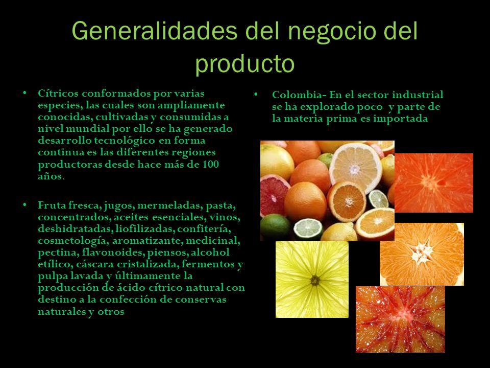 Generalidades del negocio del producto Cítricos conformados por varias especies, las cuales son ampliamente conocidas, cultivadas y consumidas a nivel